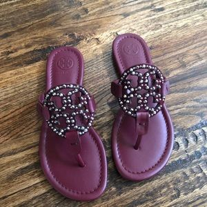 NIB Tory Burch Miller Garnet Embellished Sandal, 5